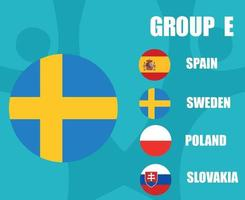 European football 2020 teams.Group E Sweden Flag.European soccer final vector
