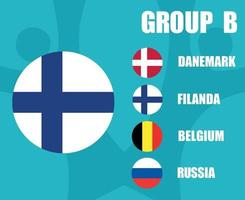 European football 2020 teams.Group B Finland Flag.European soccer final vector