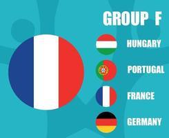 European football 2020 teams.Group F France Flag.European soccer final vector