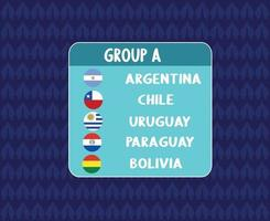 America Latine football 2020 teams.America Latine soccer final.Group A Argentina Chile Uruguay Paraguay Bolivia vector