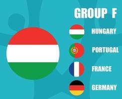 European football 2020 teams.Group F Hungary Flag.European soccer final vector