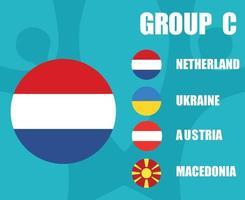 European football 2020 teams.Group C Netherlands Flag.European soccer final vector