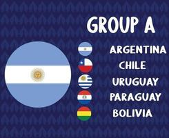 america latine football 2020 teams.group a argentina flag.america latine soccer final vector