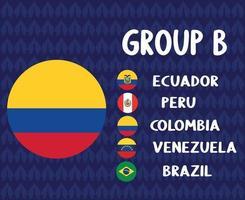 america latine football 2020 teams.group b colombia flag.america latine soccer final vector