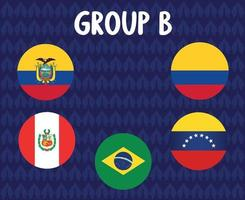 america latine football 2020 teams.group b countries flags ecuador peru colombia venezuela brazil.america latine soccer final vector