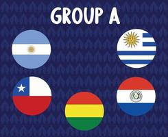 america latine football 2020 teams.group a countries flags argentina chile uruguay paraguay bolivia.america latine soccer final vector