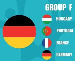 European football 2020 teams.Group F Germany Flag.European soccer final vector