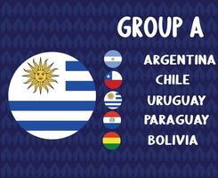 america latine football 2020 teams.group a uruguay flag.america latine soccer final vector