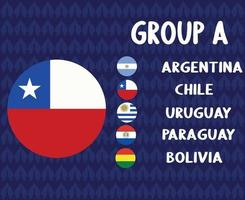 America Latine football 2020 teams.Group A Chile Flag.America Latine soccer final vector
