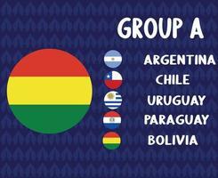 america latine football 2020 teams.group a bolivia flag.america latine soccer final vector