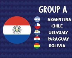 america latine football 2020 teams.group a paraguay flag.america latine soccer final vector