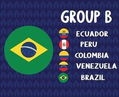 america latine football 2020 teams.group brasil flag.america latine soccer final vector