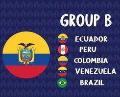 america latine football 2020 teams.group b ecuador flag.america latine soccer final vector