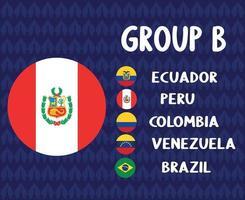america latine football 2020 teams.group b peru flag.america latine soccer final vector