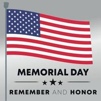 beautiful memorial day in the united states of america flag pole - remember and honor poster banner background vector illustration