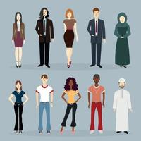 A BUNDLE OF 90'S THEMED PEOPLE OF VARIOUS RACES ASIAN BLACK WHITE ARAB MUSLIM HIJAB IN THE OFFICE BUSINESS BEAUTIFUL AND COOL vector