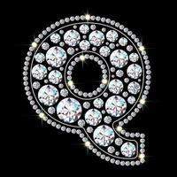 Alphabet letter Q made from bright, sparkling diamonds Jewelry font 3d realistic style vector illustration