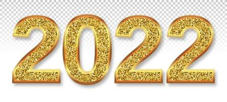 2022 numbers are gold glitter swirling Christmas symbol with soft shadow 3D realistic illustration Transparent background Vector