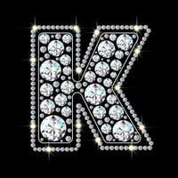 Alphabet letter K made from bright, sparkling diamonds Jewelry font 3d realistic style vector illustration
