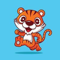 personaje de dibujos animados lindo tigre con cola larga corriendo feliz vector