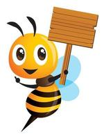 Cartoon cute bee holding wooden signboard and hand pointing vector