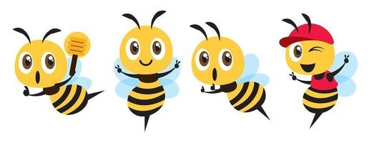 Flat design of cute bee mascot set vector