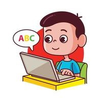 Cute little boy studying online class at home vector