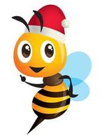 cartoon cute bee wearing Christmas hat with hand pointing vector