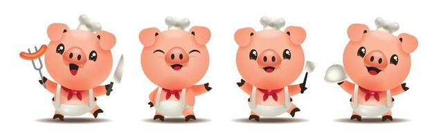 Cartoon cute pig chef mascot set holding different types of kitchen ware vector