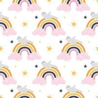 Cute funny seal is lying on the rainbow. Vector seamless pattern on a white background. Wallpaper, packaging paper design, fabrics, children's print