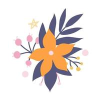 Beautiful cute orange flower with decorative plant elements. Vector image in a flat style. Floral decor for invitations, postcards, stickers