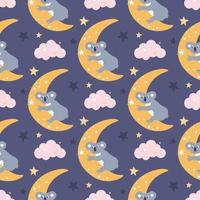 A cute funny koala on the moon is reaching for a star among the clouds. Vector seamless pattern on a purple background. Wallpaper, packaging paper design, fabrics, children's print
