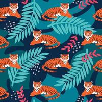Tiger among tropical plants, a bright vector seamless pattern in a cartoon flat style. Wallpaper, packaging paper, fabric, postcard design