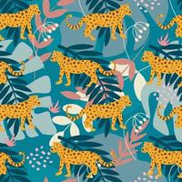 Jaguar among tropical plants, a bright vector seamless pattern in a cartoon flat style. Wallpaper, packaging paper, fabric, postcard design