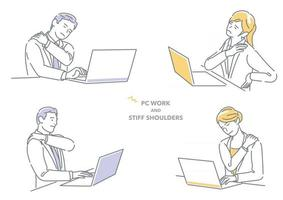 Businessman And Businesswoman Working On Laptop Computer Having Stiff Shoulders Isolated On A White Background vector