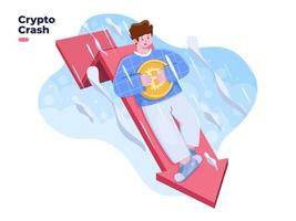Cryptocurrency price fall down or price collapse illustration. Bitcoin crash. Huge loss of cryptocurrency investment. Bitcoin Price Drops. Crypto value down with red arrow. vector