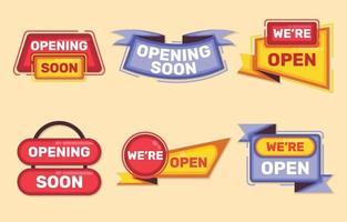 abriendo colecciones de insignias comerciales. vector