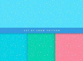 Set of greeting card snow flake pattern on light blue, green and red background. Simple flat  pastel color design. Vector illustration