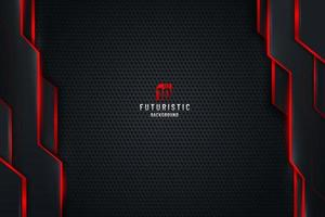 Abstract template black metal texture background with vertical geometric pattern and red lighting lines. Sports technology modern design concept. Vector illustration