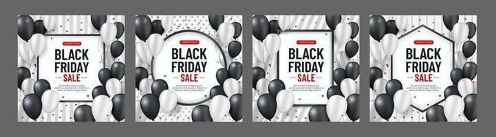 Conjunto de fondo de venta de viernes negro con globos blancos y negros y serpentina sobre fondo de tira vertical. diseño moderno. Fondo de vector universal para carteles, pancartas, folletos, tarjetas. Eps10