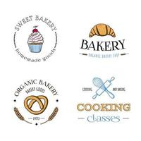 Set of bakery logos With cupcake pretzel croissant rolling pin whisk vector