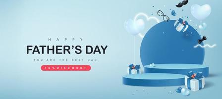 Fathers Day card with product display cylindrical shape and gift box for dad on blue background vector