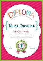 Plantilla de diseño de fondo de certificado de diploma de niños en edad preescolar vector