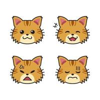 Set of cute brown cat faces showing different emotions vector