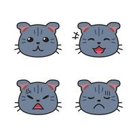 Set of cute cat faces showing different emotions vector