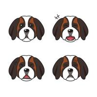 Set of character saint bernard dog faces showing different emotions vector