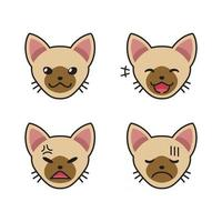 Set of brown cat faces showing different emotions vector