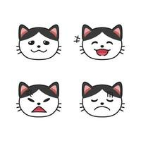Set of cat faces showing different emotions vector