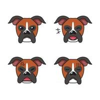 Set of character boxer dog faces showing different emotions vector