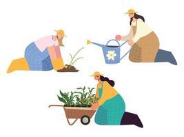 agricultoras agrícolas y agrícolas con regadera, carretilla y plantación vector